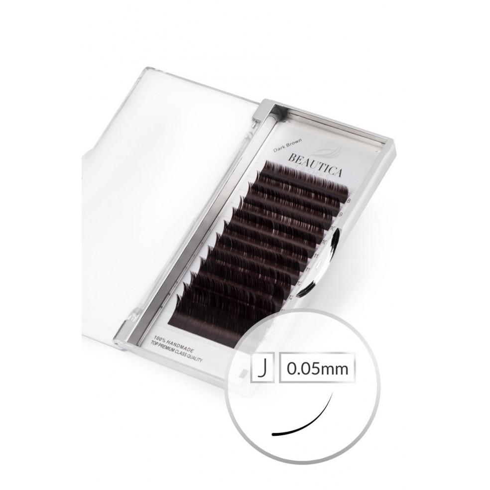 Super Dark Brown Lashes J 0.05 mm - Mix Beautica Lashes